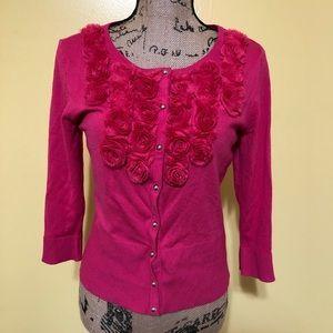 {WHBM} Rosette Pink Cardigan